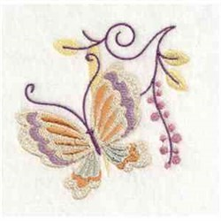 Jacobean Butterfly Swirl embroidery design