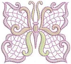 Jacobean Swirl Butterfly embroidery design