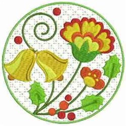 Jacobean Christmas Bells embroidery design