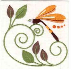 Jacobean Dragonfly embroidery design