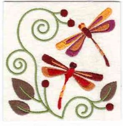 Jacobean Dragonflies embroidery design