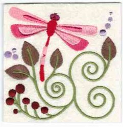 Jacobean Pink Dragonfly embroidery design