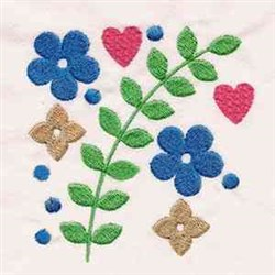 Jacobean Squared Flowers embroidery design