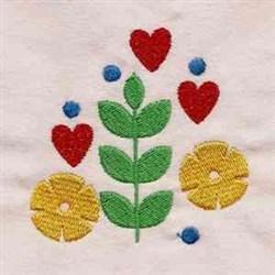 Jacobean Heart Flowers embroidery design