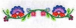 Jacobean Floral Border embroidery design