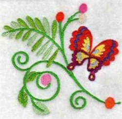Jacobean Butterfly Fern embroidery design