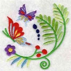 Jacobean Fern Butterfly embroidery design