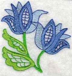 Jacobean Blue Flower embroidery design