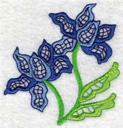 Jacobean Blue Flowers embroidery design