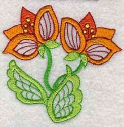 Jacobean Orange Flowers embroidery design