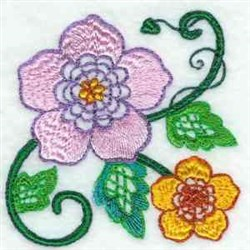 Jacobean Colorful Violets embroidery design