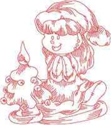 Redwork Ragdoll Xmas embroidery design