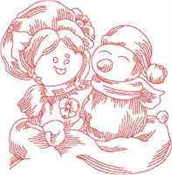 Ragdoll Christmas Snowman embroidery design
