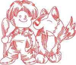 Redwork Ragdoll Pup embroidery design