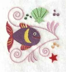 Jacobean Fish Swirl embroidery design