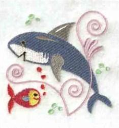 Jacobean Shark embroidery design