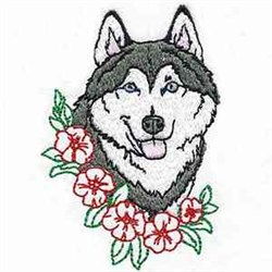 Floral Husky Head embroidery design
