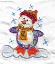 Applique Snowy Penguin embroidery design
