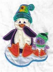 Applique Iceburg Penguin embroidery design