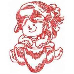 Redwork Drummer Ragdoll embroidery design