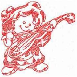 Redwork Violin Ragdoll embroidery design