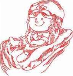 Redwork Chillin Ragdoll embroidery design