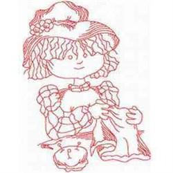 Redwork Sewing Girl embroidery design