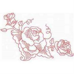 Redwork Roses Corner embroidery design