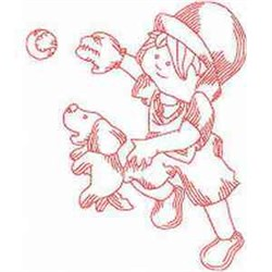 Redwork Baseball Pup embroidery design