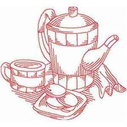 Redwork Tea Set embroidery design