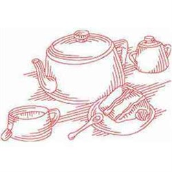 Redwork Tea Time embroidery design