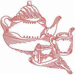 Redwork Tea & Cake embroidery design