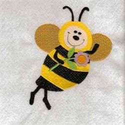 Happy Floral Bee embroidery design