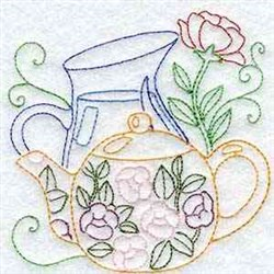 Linework Tea & Water embroidery design