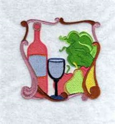 Framed Wine & Fruit embroidery design