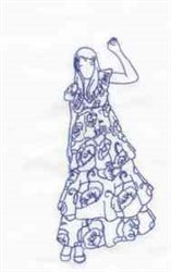 Bluework Waving Girl embroidery design