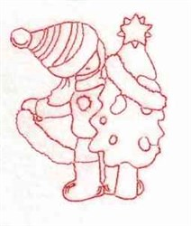 Redwork Christmas Girl embroidery design