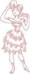 Redwork Vintage Woman embroidery design
