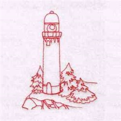 Lighthouse in the Pines embroidery design