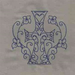 Cross with Lilies embroidery design
