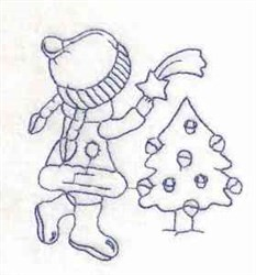 Bluework Christmas Girl embroidery design