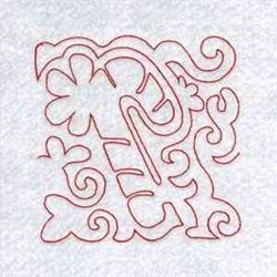 Candy Cane Block Redwork embroidery design