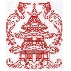 Redwork Pagoda embroidery design