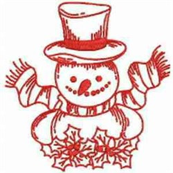 Redwork Snowman embroidery design