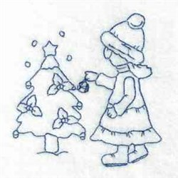 Bluework Winter Scene embroidery design