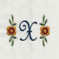 Floral Script Letter X embroidery design