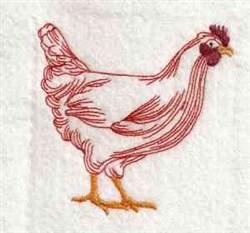 Redwork Chicken embroidery design