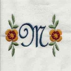 Floral Script Letter M embroidery design