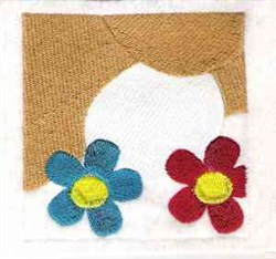 Puppy And Flowers embroidery design