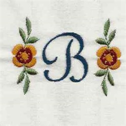 Floral Script Letter B embroidery design